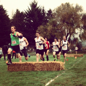 Nothing like having actual bales of hay to jump over to make it feel like a real xc meet